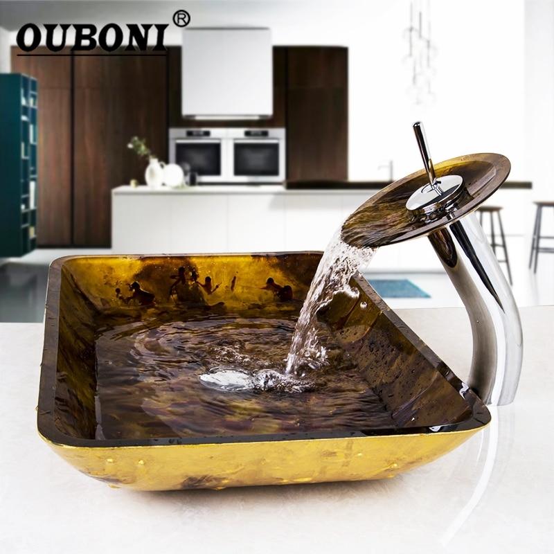 Blue Waterfall Glass Hand-Painted Lavatory Bath Brass Set Bathroom Rectangular glass basin Sink Washbasin  Faucet Mixers Taps