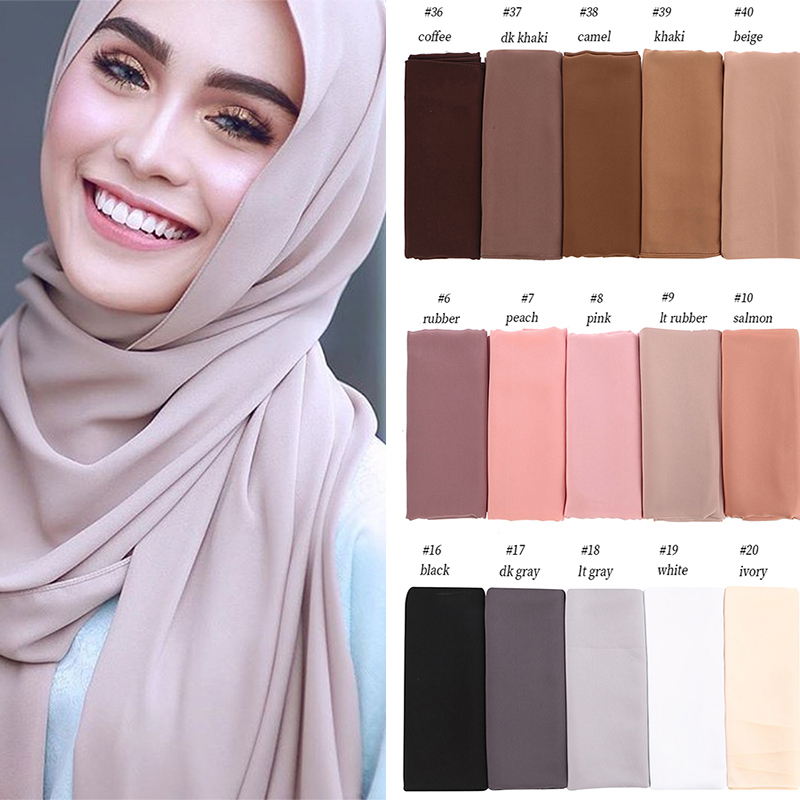 Big Size High Quality Bubble Chiffon Women Muslim Hijab Scarf Shawl Wrap Solid Plain Colors 10pcs/lot-in Women's Scarves from Apparel Accessories
