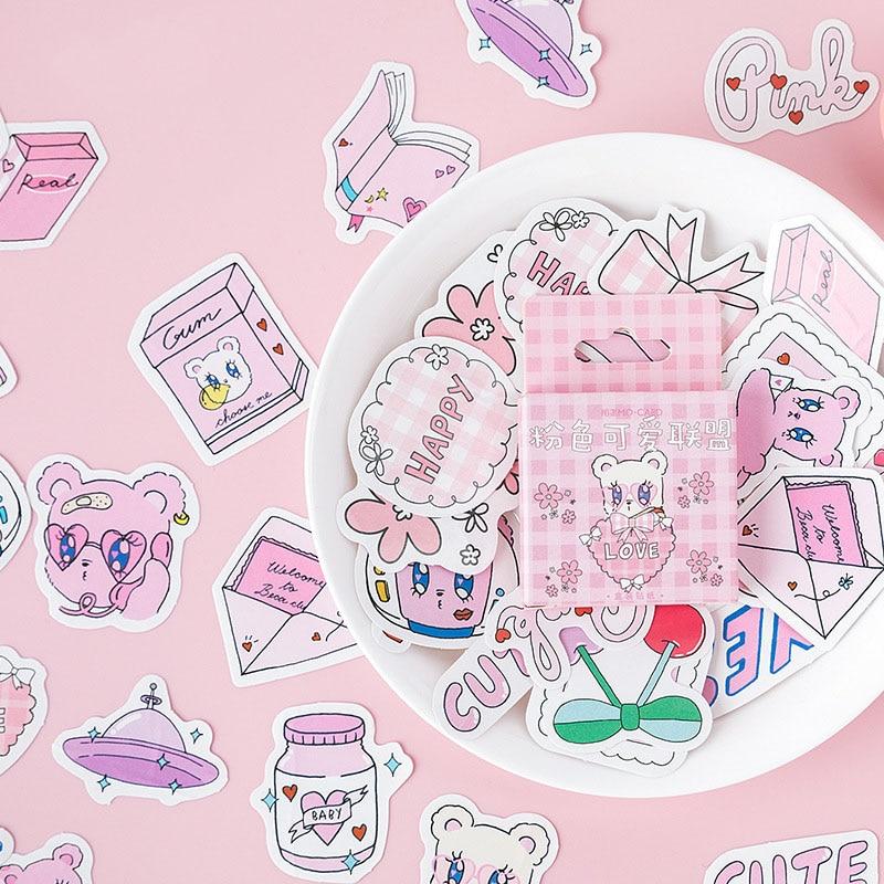45Pcs/Box Cute Bear Stickers Kawaii Stationery Sticker Cartoon Adhesive Stickers For Decorative Bullet Journal Diary Photo Album