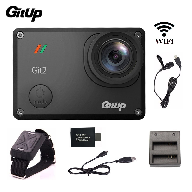 Gitup Git2 Action Camera 2K WiFi Sports DV Full HD 1080P Action Cam+Mic+Remote Control+Extra 1pcs Battery+Battery Charger free shipping 16gb soocoo c30 wifi ultra hd 2k 30fps full hd 1080p mini sports camera extra 1pcs battery car charger holder