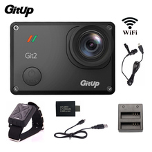 Gitup Git2 Action Camera 2K WiFi Sports DV Full HD 1080P Action Cam+Mic+Remote Control+Extra 1pcs Battery+Battery Charger