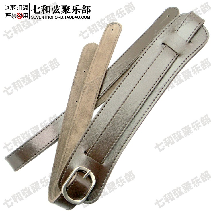 Electric guitar strap electric bass suspender Slash style small shoulder pad brace 127-152CM dark brown