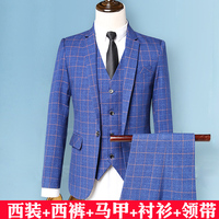 BOHO 2018 men suit suit young cultivate one's morality leisure grid tide groom wedding dress professional suit