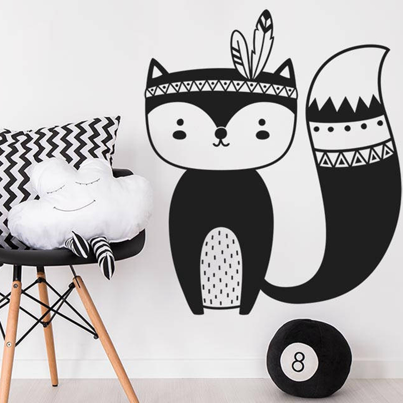 Tribal Fox Vinyl Wall Decal Nursery Decor Woodland Animal Wall Stickers For Kids Room Decoration