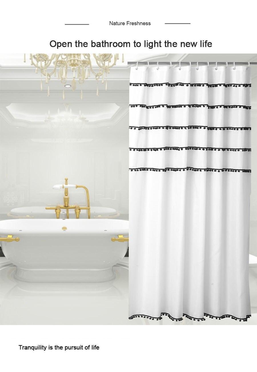 ufriday tassels shower curtain black and white decorative shower curtains for bathroom urban home hotel waterproof bath curtain