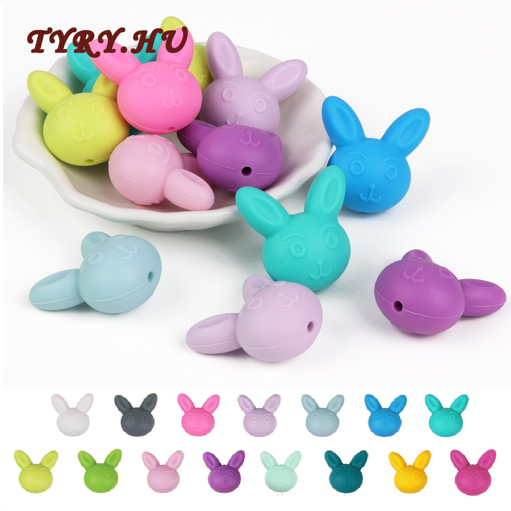 TYRY.HU 10Pcs Silicone Beads For Baby Teething Pendant Silicone Rabbit Shape Beads Pacifier Clips BPA Free Silicone Teether Toys