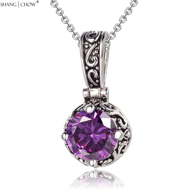 2017 Winter Vintage Charm Jewelry Circular Amethyst Stone 925 Sterling Silver Pendant for women Accessories Gift P0433