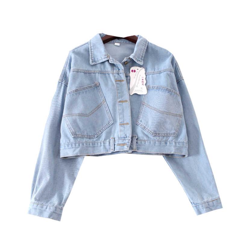 2018 Весна Для женщин джинсовая куртка плюс Размеры винтажный обрезанный короткое джинсовое пальто с длинными рукавами и джинсовое пальто кардиган светло/темно-синие A423