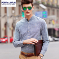 Port&Lotus Men Striped Shirt Oxford Long Sleeve Mens Slim Fit Shirts Brand Clothing 203YDS1366 Mens Clothing