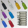 OPHIR Pro 8pcs Stainless Steel Tattoo Nozzle Tips with 8pcs Aluminum Tattoo Grips _TA064