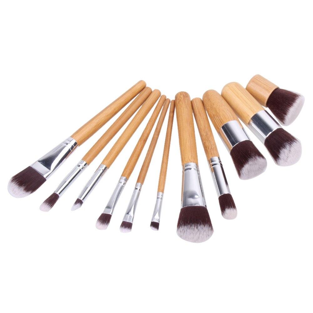 11pcs Natural Bamboo Makeup Brushes with Bag Professional Cosmetics Eyeliner Brush Kit Soft Kabuki Foundation Blending Tool