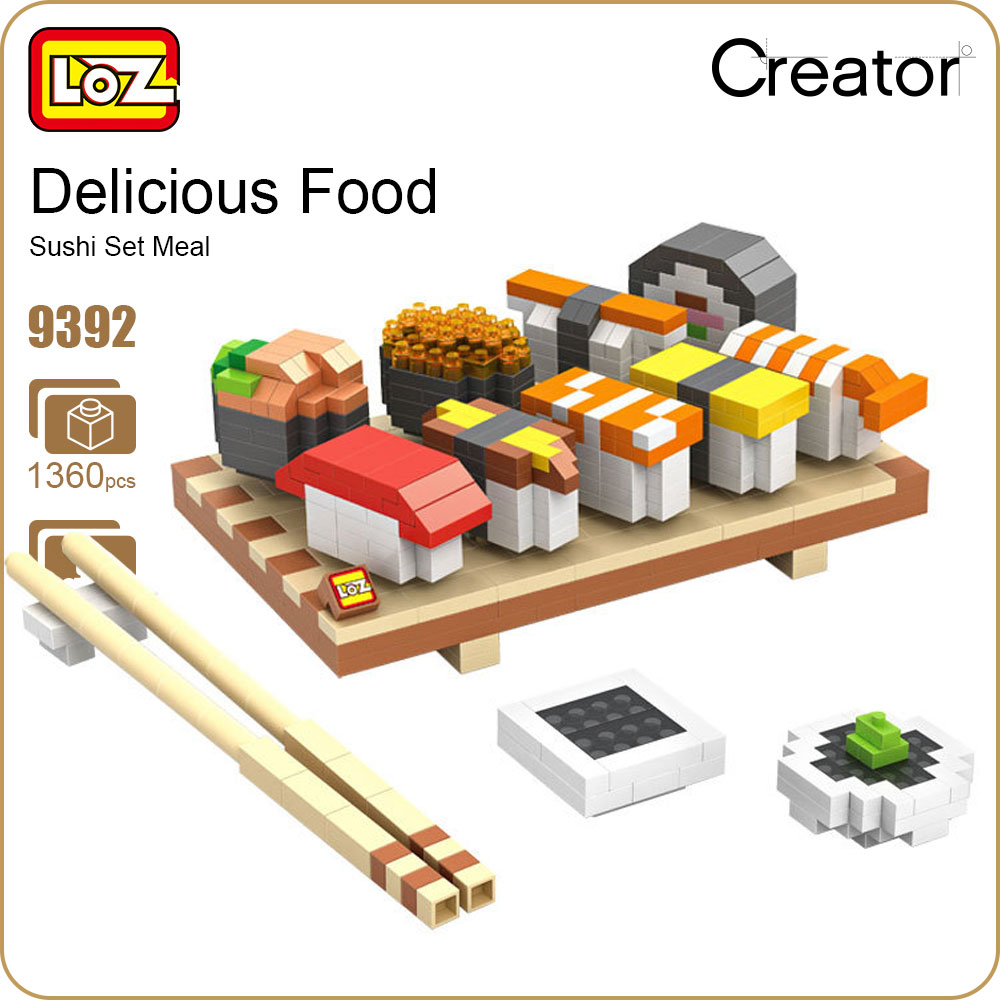 LOZ Diamond Blocks Sushi Set Meal Food Assembly Model Building Small Parts Bricks Miniblocks Toys for Children Micro Bricks 9392 loz mini diamond block world famous architecture financial center swfc shangha china city nanoblock model brick educational toys