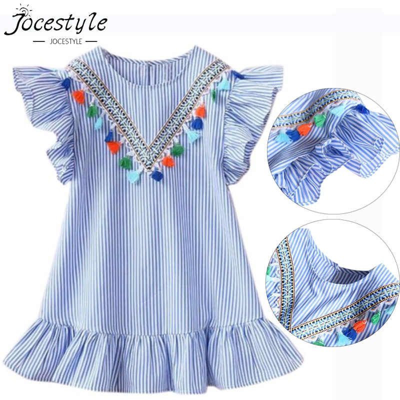 Summer Girls Tassel Flying Sleeve Dresses Stripe Cute Kids Party Dresses for Kids girls Princess Dress Tops Clothes