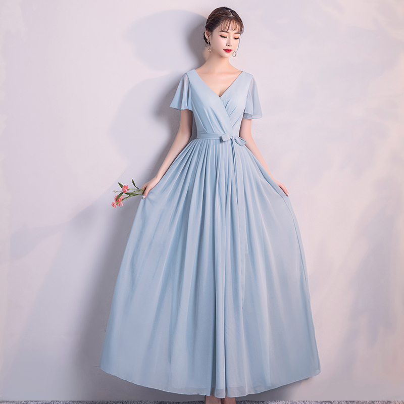 Back Of Zipper Bridesmaid Dresses Short Sleeves Woman Dresses For Party And Wedding Blue Colour Long Dress  Adult  V-neck