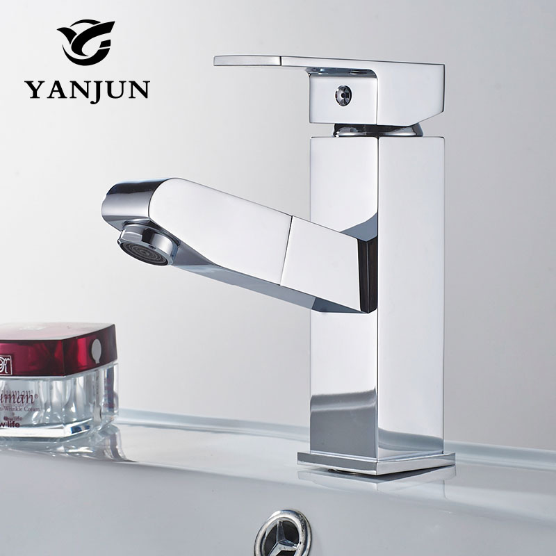 Bathroom Faucet Silver Kitchen Waterfall Brass Cocina Chrome Deck Mounted Tap Cold And Hot Water Basin Mixer Yanjun-6681 ax shape waterfall basin faucet dual handle brass chrome bathroom mixes deck mount hot and cold tap