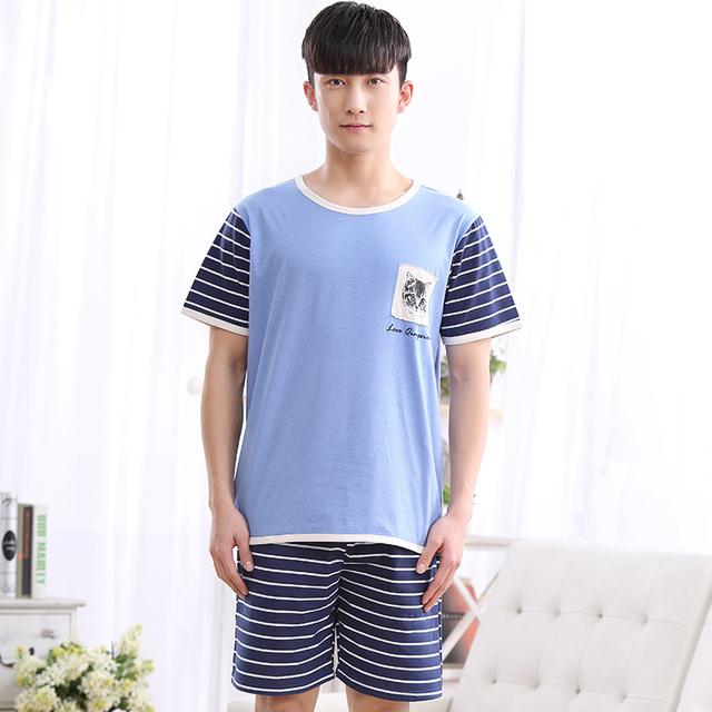 1077 homens Pijama de verão padrão Gato azul top + tarja calças curtas