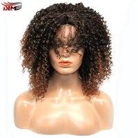 DLME Y babyhair bleach nudos ombre marrón #2/30 color Natural afro kinky rizado pelucas mezcladas 180% corto pelo sintético del frente del cordón peluca