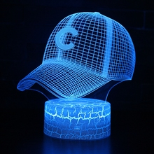 3D LED Night Lights Letter C Peaked Cap with 7 Colors Changeable Light for Home Decoration Lamp Visualization Optical Illusion 3d led night light dynamic tractor car with 7 colors light for home decoration lamp amazing visualization optical illusion