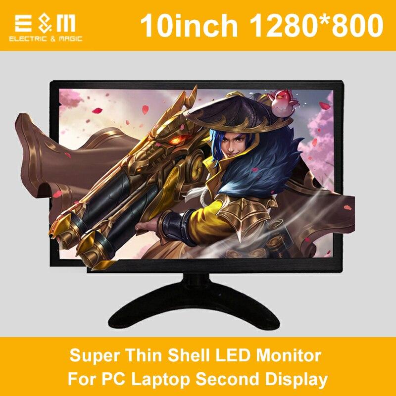 10 pouce 1280*800 Écran Portable Batterie Intégrée HD HDMI VGA DVI Super Mince Shell LED Moniteur Pour PC deuxième ordinateur portable Affichage