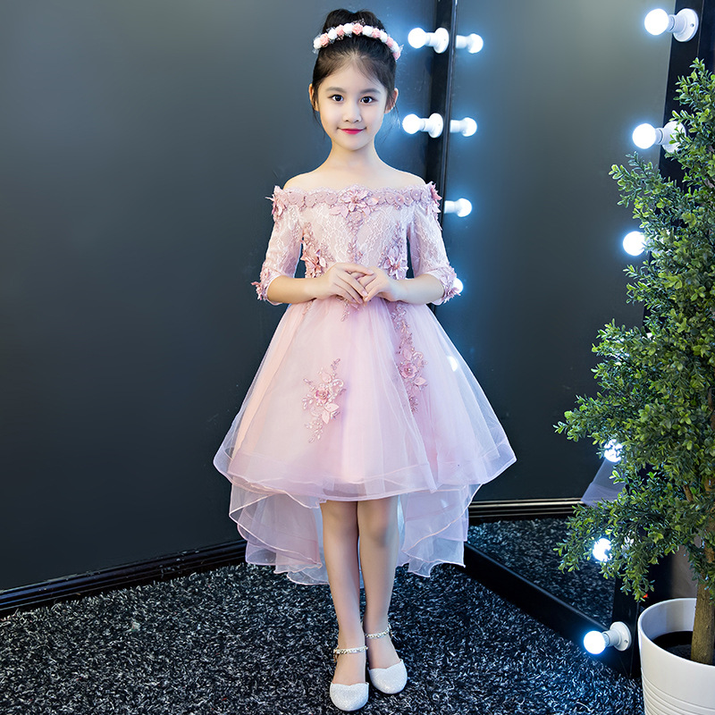 Princess dress new children's evening dress word shoulder trailing sleeve wedding dress girls wedding birthday celebration dress цены