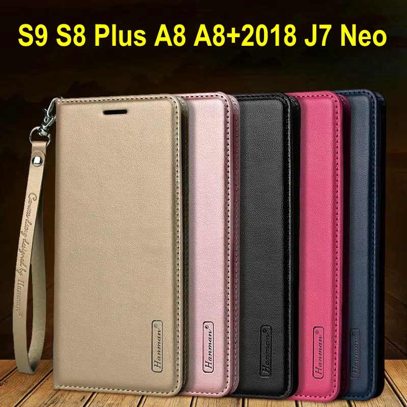 Hanman Business Hang Rope Series Genuine Leather Wallet Case for Samsung Galaxy J7 Neo Note8 S8 S9 Plus A8 Plus 2018 A5 A7 2017