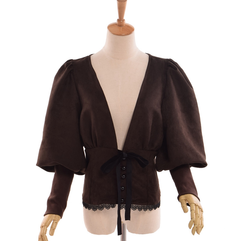 Women Victorian Vintage Deep V neck Shirt Steampunk Puff Sleeve Tops Brown/Blue/Burgundy Costume
