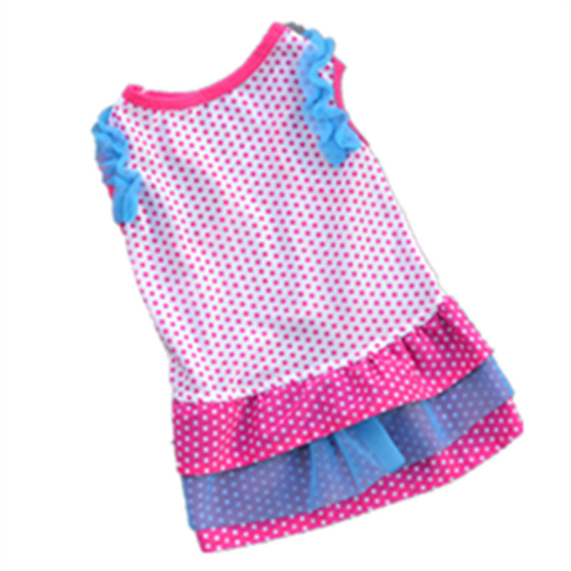 Pet skirt summer princess dress Dots print pink color point skirt for pet dog clothes Dog Clothes for Small Dogs whole sale