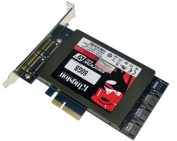 Free shipping x4 PCIe to 2.5 SATA 3.0 +SATAIII RAID Card HyperDuo SATA port multiplier 88SE9230 4 ports sata3 0 6gb pcie raid card 88se9230 chipset support raid 0 1 10 hyperduo