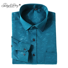 DAVYDAISY Men Shirt Polyester Fiber Turn Down Collar Long Sleeved Formal Floral Print Male Brand Clothing Work Shirts DS144