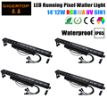 Freeshipping IP65 Outdoor 4PCS 14x12W 6IN1 Led Running Pixel Wall Washer Light 2/6/8/11/84/86 Channels Waterproof Dual Case