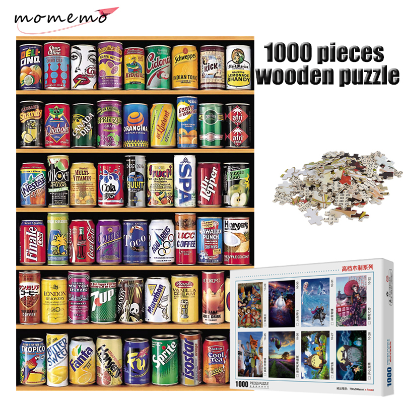 MOMEMO Soda Cans Rack Jigsaw Puzzle 1000 Pieces Wooden Adult Entertainment Puzzle 1000 Piece Jigsaw Puzzle Kids Toys Box Packing