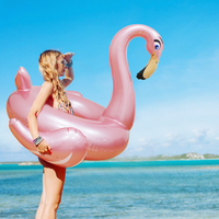 140cm Inflatable Rose Gold Flamingo Giant Swimming Ring Circles Pool Float Water Pool Toys Inflatable Swim Tube Raft Beach Party
