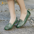 Handmade folk style retro leather ladies shoes comfortable soft bottom flat with shallow mouth Sen pregnant mother shoe