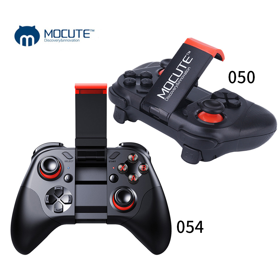 MOCUTE 050 054 VR Game Pad Joystick Android controlador Bluetooth Selfie Control remoto Gamepad para PC Android TV Teléfono + titular