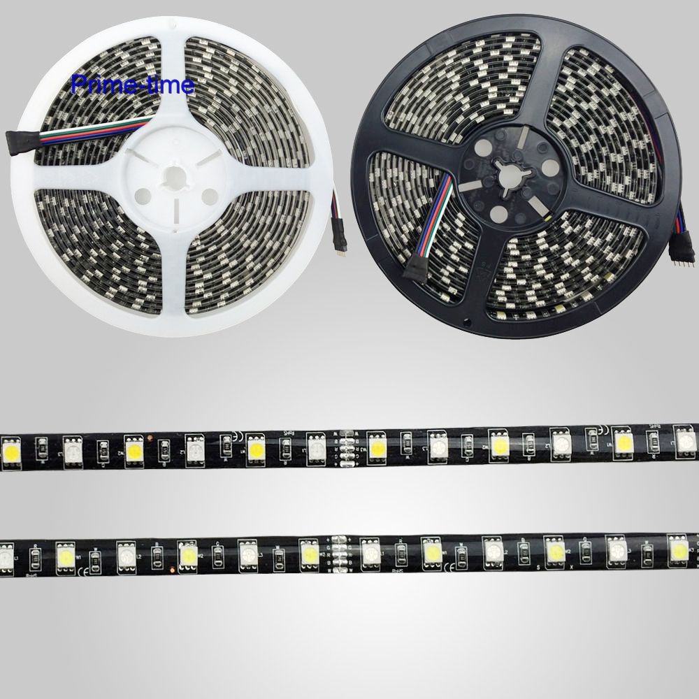 Zwart PCB 5 M RGBW RGBWW RGB + (Warm / Koud / Wit) LED Strip 300 LEDs - LED-Verlichting