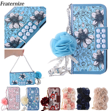 Pink Phone Bag For iPhone X lovely Pearl Rose Flower Leather Handbag Flip Wallet Full Case Cover For iPhone 7 8 6 6S Plus 5S SE