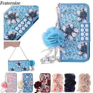 Image 1 - Rosa Telefon Tasche Für iPhone X schöne Perle Rose Blume Leder Handtasche Flip brieftasche Voller Fall abdeckung Für iPhone 7 8 6 6 S Plus 5 S SE