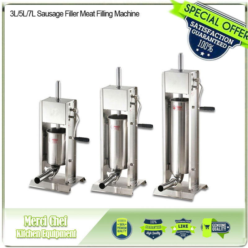 2017 NEW ARRIVAL Brand New 3L/5L/7L Sausage Filler Meat Filling Machine Manual Stuffer Commercial Food Processors food processor 3l big sausage maker manual sausage stuffer machine fast delivery making filling vertical sausage filler