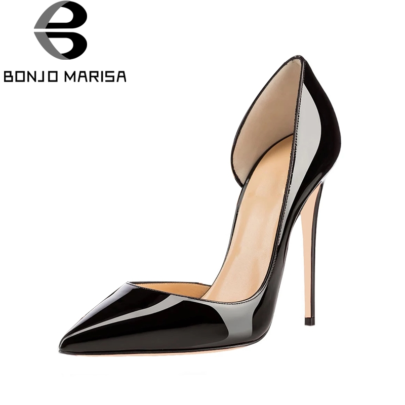 BONJOMARISA Large Size 33-45 12cm Thin High Heels Party Banquet Shoes Pumps Sexy Brand Design Women Shoes Woman цена