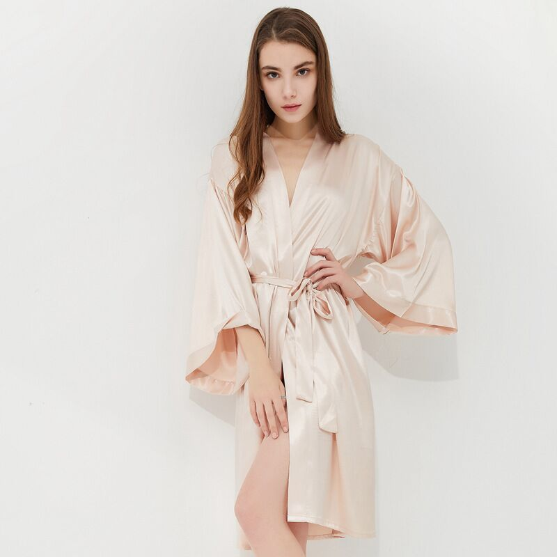 Customize Wedding Bride Bridesmaid Robe Women Silk Satin Kimono Robe Embroider Letters Female Dressing Gown Bachelor Party Robe in Robes from Underwear Sleepwears