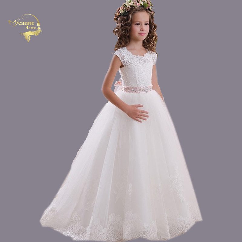 2019 Princess White Lace   Flower     Girl     Dresses   Cap Sleeves Cut Out Backless Sweep Train For Wedding Prom Communion   Dresses   Vestido