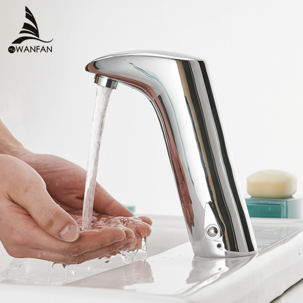 Faucet Sensor Bathroom Automatic Hands Touch Free Water Saving Inductive Electric Water Tap Battery Power Basin Faucets 408901 in Basin Faucets from Home Improvement
