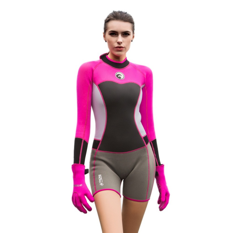 1.5mm Women Neoprene Wetsuit Elastic Colour Surf Diving Equipment Suit Clothing Long-Sleeved One Piece Fitted Warm Surfing 2018