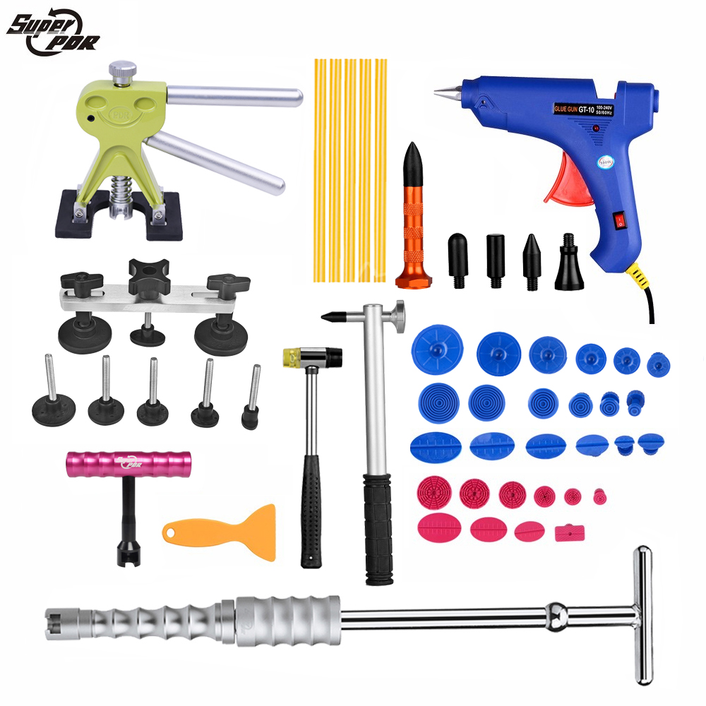 PDR tool Dent Removal Paintless Dent Repair tools for car tool kit Slide Hammer Dent Puller Glue Gun Pulling Bridge hand tools 147 pcs portable professional watch repair tool kit set solid hammer spring bar remover watchmaker tools watch adjustment