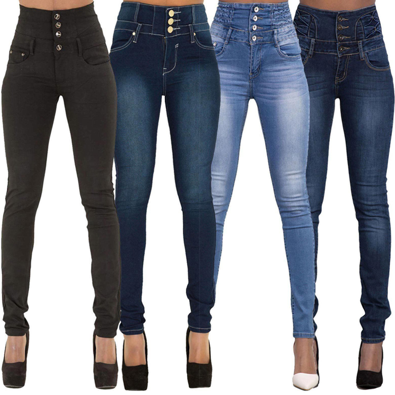 Spring Autumn Women Skinny Denim Light Pencil Pants Stretch Jeans High Waist Slim Button Pockets Pants Women Jeans
