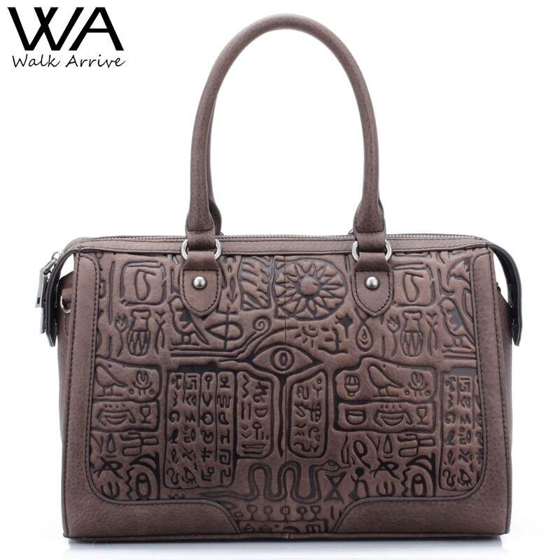 Walk Arrive Genuine Leather Women Shoulder Bag Handbag Special Design Embossed Leather Tote Bag High-capacity Fashion Purse