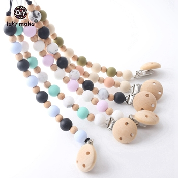 Let's make Baby Teething 12PCS Baby Pacifier Necklace Wooden Silicone Beads Chain BPA Free Wood Binky Clip Baby Nursing Clips