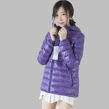 2016Autumn Winter Latest Fashion Korea Women Coat Leisure Big yards Hooded Zipper Pure color Thin light Female Down Jacket G0425