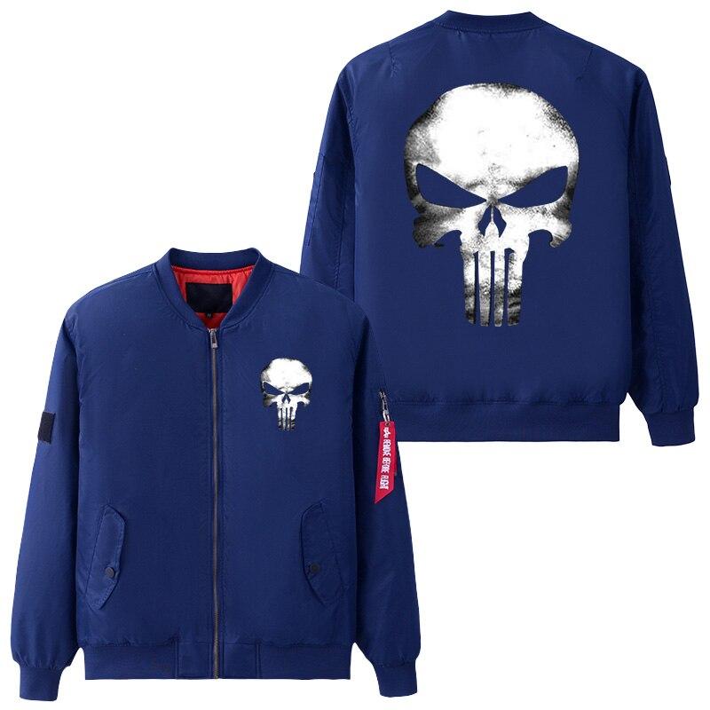 Размеры США Для Мужская куртка Каратель Череп косплэй пальто на молнии зимние Утепленные полета куртки Летающий костюм верхняя одежда