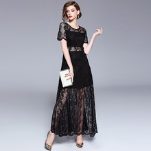 Dress Women Sexy Long Party Black Lace Summer Dresses Lady Elegant Maxi Vintage A-Line Solid Short Sleeve O-Neck Club